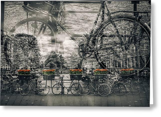 Amsterdam Bicycle Nostalgia Greeting Card by Melanie Viola