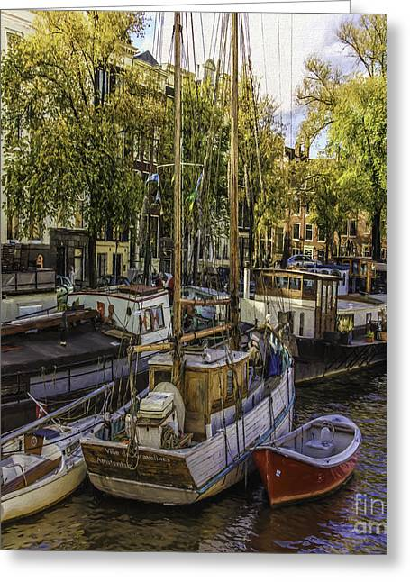 Famous Bridge Greeting Cards - Amsterdam Boats Greeting Card by Jean OKeeffe Macro Abundance Art