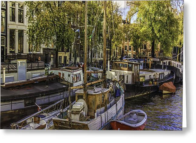 Famous Bridge Greeting Cards - Amsterdam Boats Greeting Card by Jean OKeeffe Macro Abundance Art