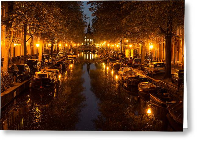 Amsterdam Canal In Golden Yellow Greeting Card by Georgia Mizuleva