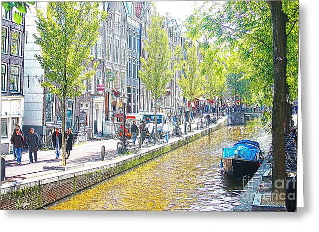 Coffee Drinking Greeting Cards - Amsterdam Canals 2 Greeting Card by Sergio B