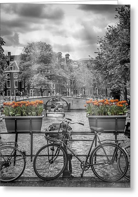 Amsterdam Gentlemen's Canal Upright Panoramic View Greeting Card by Melanie Viola