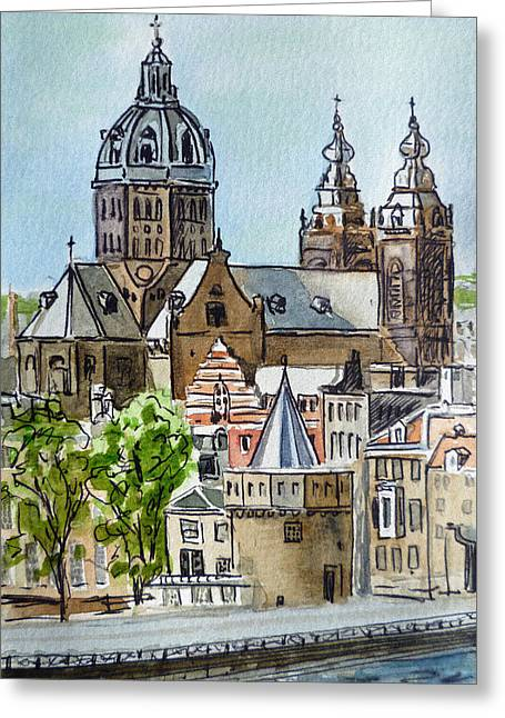 Touristic Greeting Cards - Amsterdam Holland Greeting Card by Irina Sztukowski