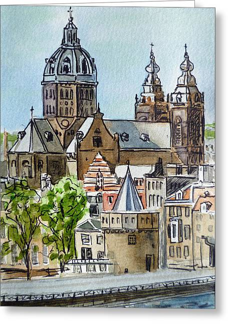Amsterdam Holland Greeting Card by Irina Sztukowski