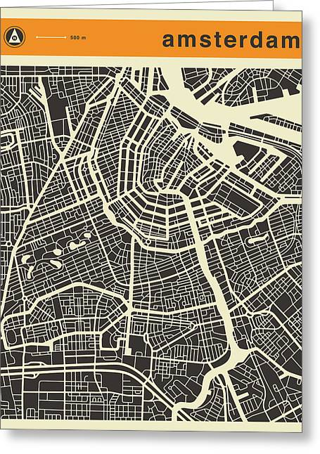 Amsterdam Greeting Cards - Amsterdam Map Greeting Card by Jazzberry Blue