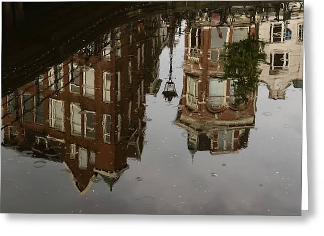 Amsterdam - Moody Canal Reflection In The Rain Greeting Card by Georgia Mizuleva