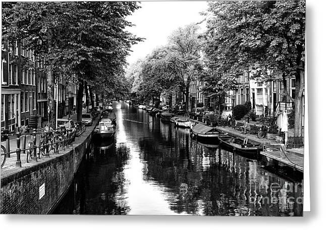 Amsterdam Neighborhood Mono Greeting Card by John Rizzuto