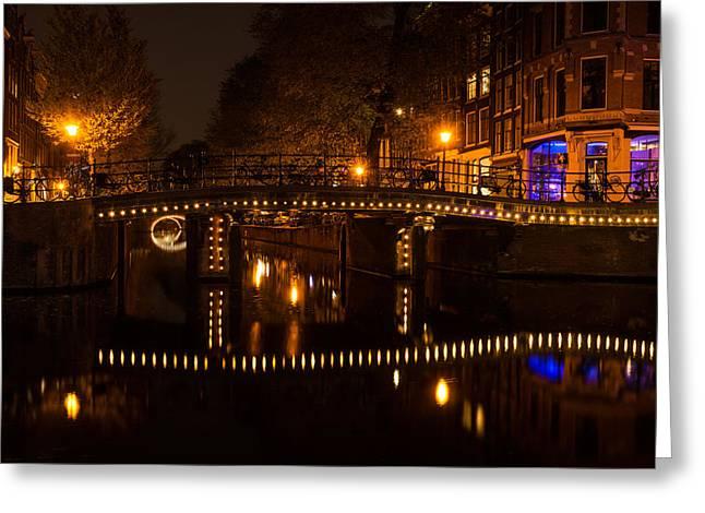 Amsterdam Night In Yellow And Purple Greeting Card by Georgia Mizuleva