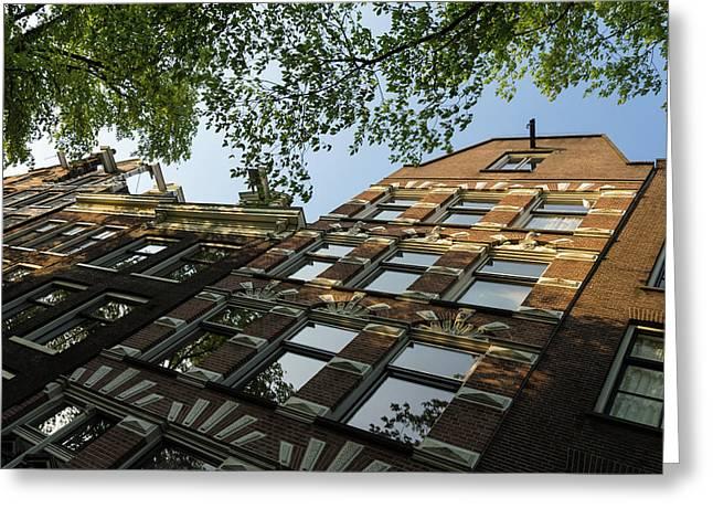 Amsterdam Spring - Fancy Brickwork Glow - Right Horizontal Greeting Card by Georgia Mizuleva