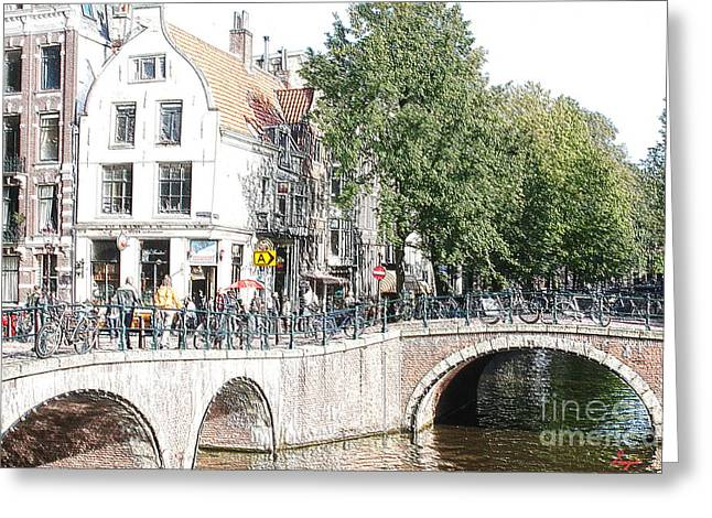 Coffee Drinking Greeting Cards - Amsterdam Streets 2 Greeting Card by Sergio B