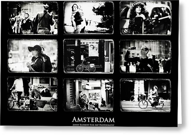 Amsterdammers And Strangers. Amsterdam By Jenny Rainbow Greeting Card by Jenny Rainbow