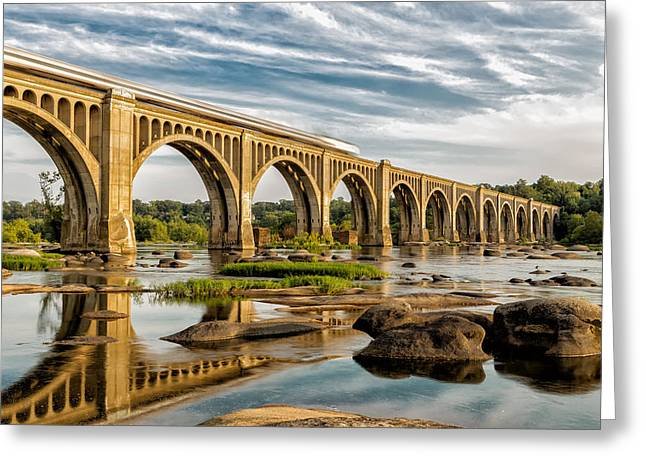 Amtrak Over The James Greeting Card by Tim Wilson