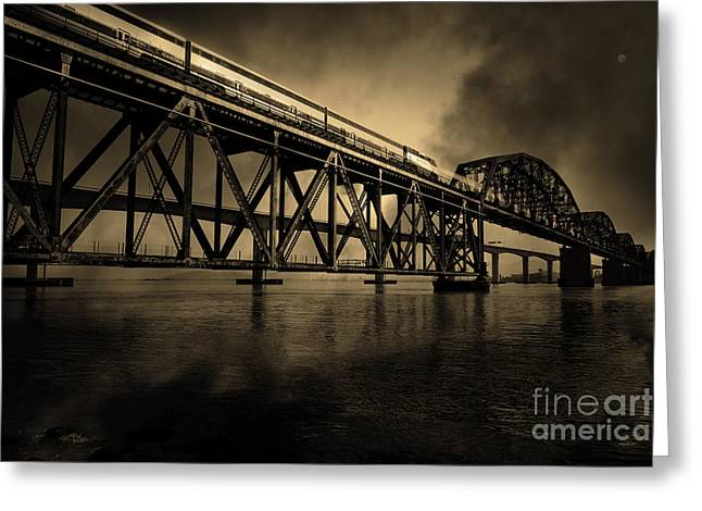 Train Bridge Greeting Cards - Amtrak Midnight Express - 5D18829 - Sepia Greeting Card by Wingsdomain Art and Photography