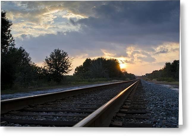 Gravel Road Greeting Cards - Amtrak Railroad System Greeting Card by Carolyn Marshall