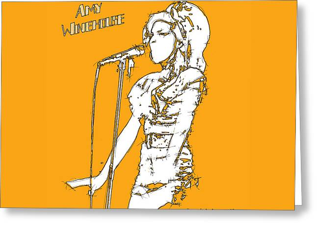 Live Music Mixed Media Greeting Cards - Amy Greeting Card by Pablo Franchi