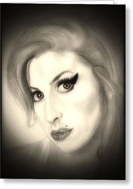 Award Drawings Greeting Cards - Amy Winehouse Greeting Card by Fred Larucci