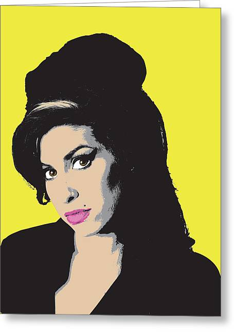 Recently Sold -  - Pop Singer Greeting Cards - Amy Winehouse Greeting Card by Martin Deane