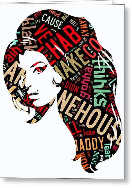 Amy Winehouse Rehab Greeting Card by Marvin Blaine