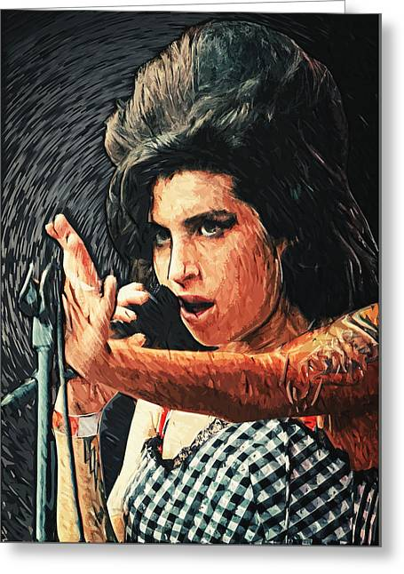 Award Digital Greeting Cards - Amy Winehouse Greeting Card by Taylan Soyturk