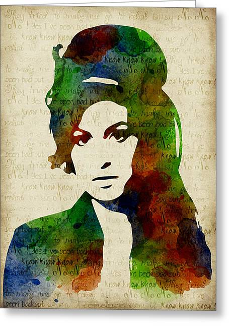 Blue Greeting Cards - Amy Winehouse watercolor Greeting Card by Mihaela Pater