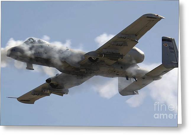 Tactical Greeting Cards - An A-10 Thunderbolt Ii Fires Its 30mm Greeting Card by Stocktrek Images