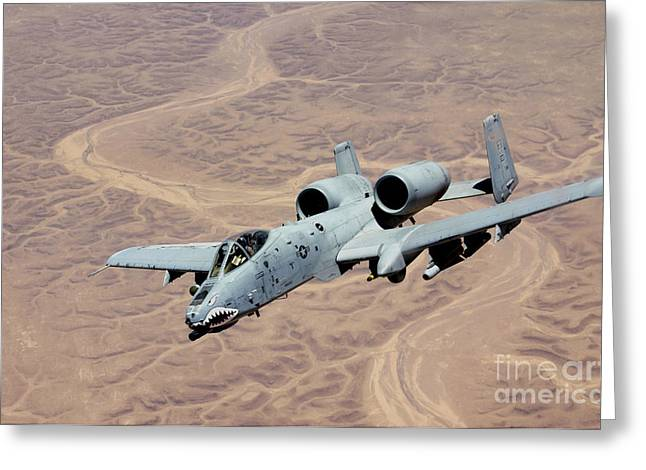 Operation Iraqi Freedom Greeting Cards - An A-10 Thunderbolt Soars Greeting Card by Stocktrek Images