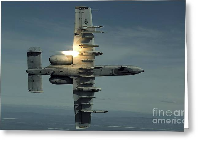 Underside Greeting Cards - An A-10 Warthog Breaks Over The Pacific Greeting Card by Stocktrek Images