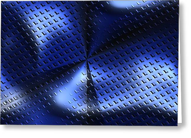 An Abstract Illustration Of Blue Metal Plate With Diamond Pattern Greeting Card by Ljubomir Arsic