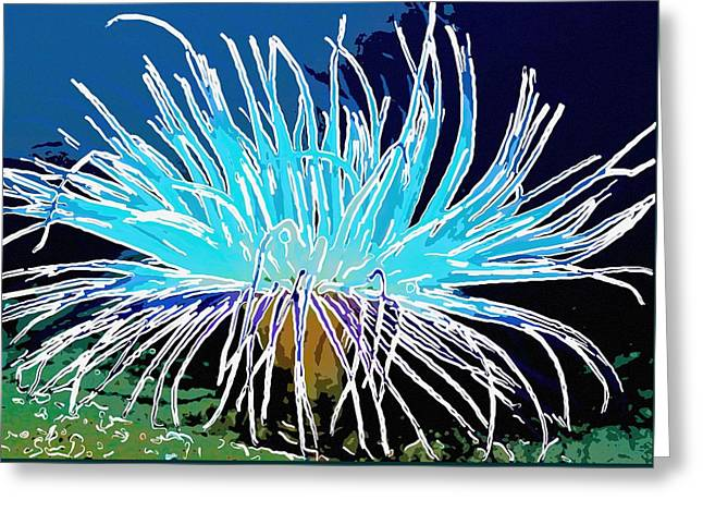 Seastar Paintings Greeting Cards - An abstract scene of sea anemone 1 Greeting Card by Lanjee Chee
