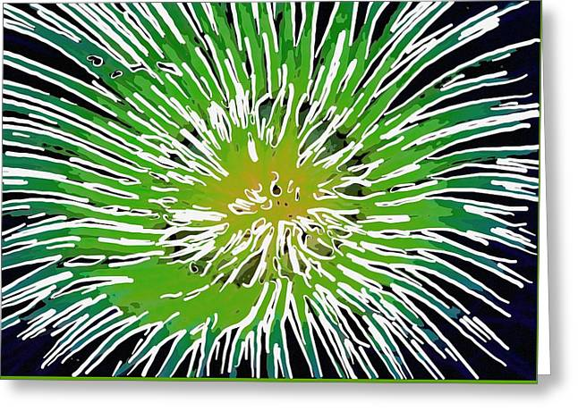 Seastar Paintings Greeting Cards - An abstract scene of sea anemone 2 Greeting Card by Lanjee Chee