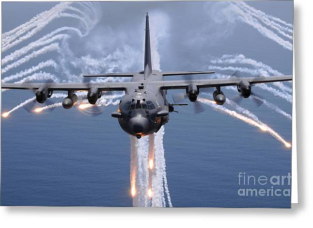 No People Photographs Greeting Cards - An Ac-130h Gunship Aircraft Jettisons Greeting Card by Stocktrek Images