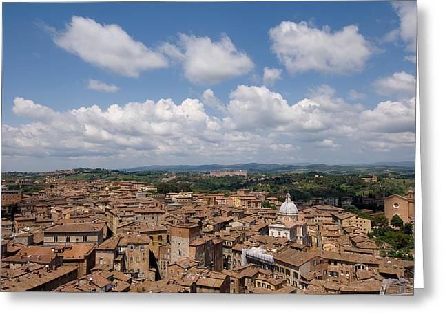 An Aerial Of Sienna, Tuscany Greeting Card by Joel Sartore