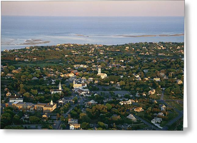 An Aerial View Of Chatham Greeting Card by Michael Melford