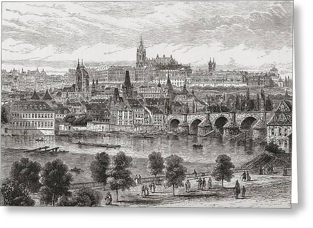 Charles River Drawings Greeting Cards - An Aerial View Of Prague, Czech Greeting Card by Ken Welsh