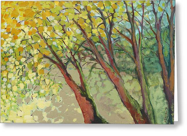Yellow Paintings Greeting Cards - An Afternoon at the Park Greeting Card by Jennifer Lommers