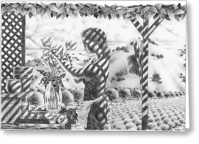 Grape Vineyard Greeting Cards - An Afternoon With Flowers Greeting Card by Mike Farrell