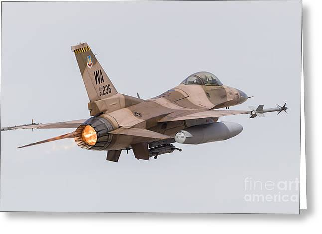 Aggressor Greeting Cards - An Aggressor F-16c Fighting Falcon Greeting Card by Rob Edgcumbe