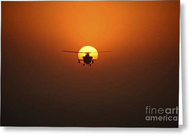 Iraq Greeting Cards - An Ah-64d Apache Helicopter Flying Greeting Card by Terry Moore