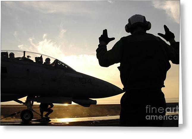 Nimitz-class Greeting Cards - An Aircraft Handling Petty Officer Greeting Card by Stocktrek Images