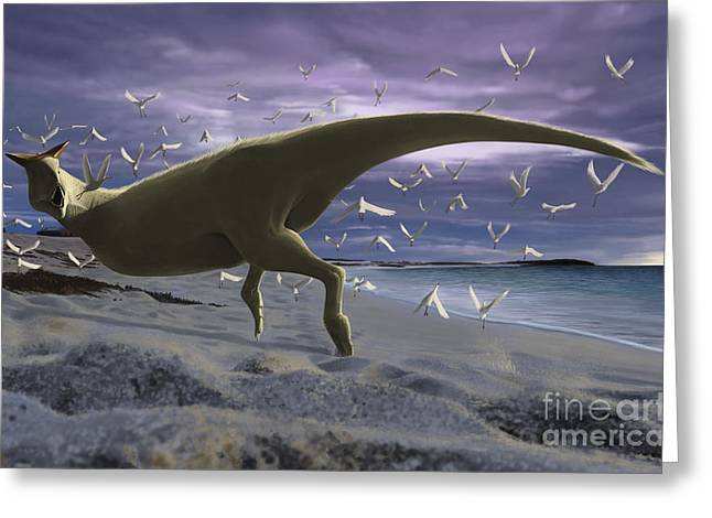 Zoology Greeting Cards - An Albino Carnotaurus Surprising Greeting Card by Michele Dessi