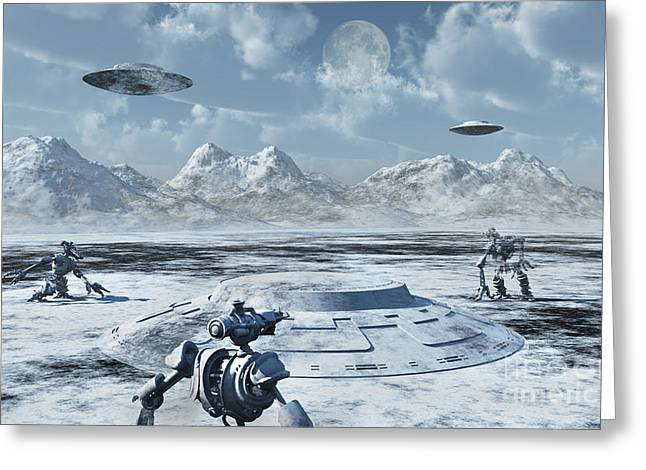 Snow-covered Landscape Digital Greeting Cards - An Alien Base Located In The Antarctic Greeting Card by Mark Stevenson