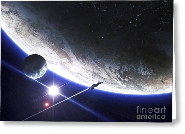 Interstellar Space Digital Art Greeting Cards - An Alien Patrol Zooms Greeting Card by Kevin Lafin