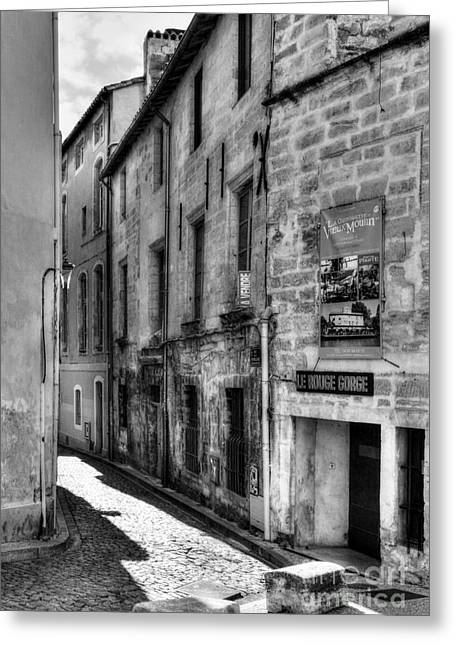 Southern France Greeting Cards - An Alley In Avignon 2 BW Greeting Card by Mel Steinhauer