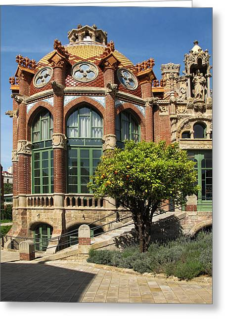 Pau Spanish Greeting Cards - An Amazing building at Sant Pau Barcelona Greeting Card by Dave Mills