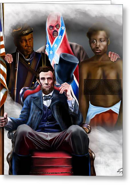 Confederate Flag Paintings Greeting Cards - An American Family Portrait Greeting Card by Reggie Duffie