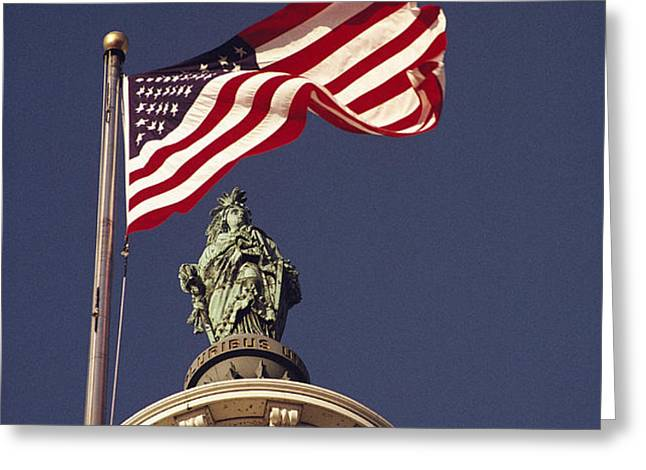 An American Flag And The Statue Greeting Card by Medford Taylor