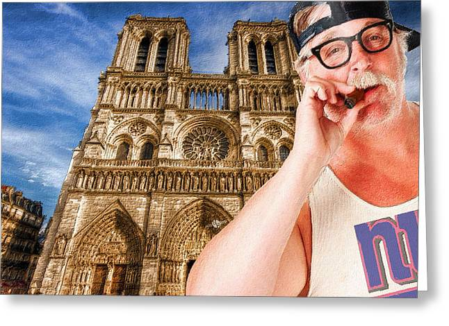 An American In Paris Notre Dame Greeting Card by Tony Rubino
