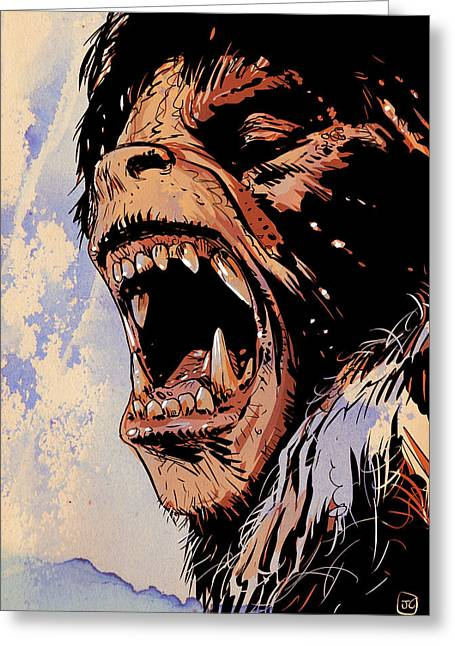 Gothic Drawings Greeting Cards - An American Werewolf in London Greeting Card by Giuseppe Cristiano