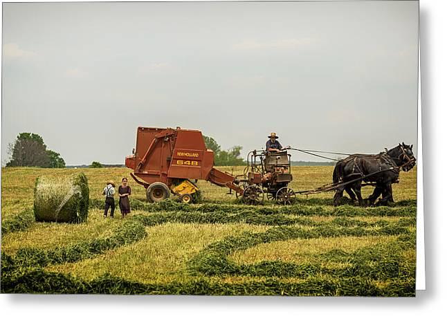 Pull Greeting Cards - An Amish Farm Greeting Card by Vladimir Kudinov