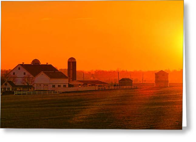 An Amish Sunset Greeting Card by Olivier Le Queinec